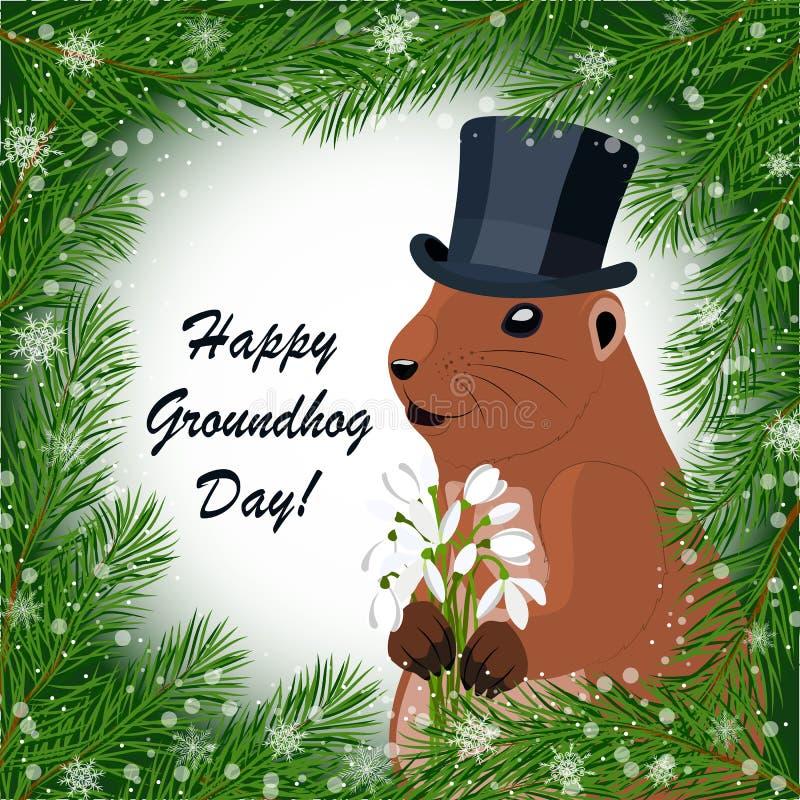 Carte de voeux de jour de Groundhog illustration stock