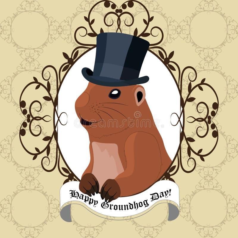 Carte de voeux de jour de Groundhog avec la marmotte mignonne dans le chapeau noir illustration libre de droits