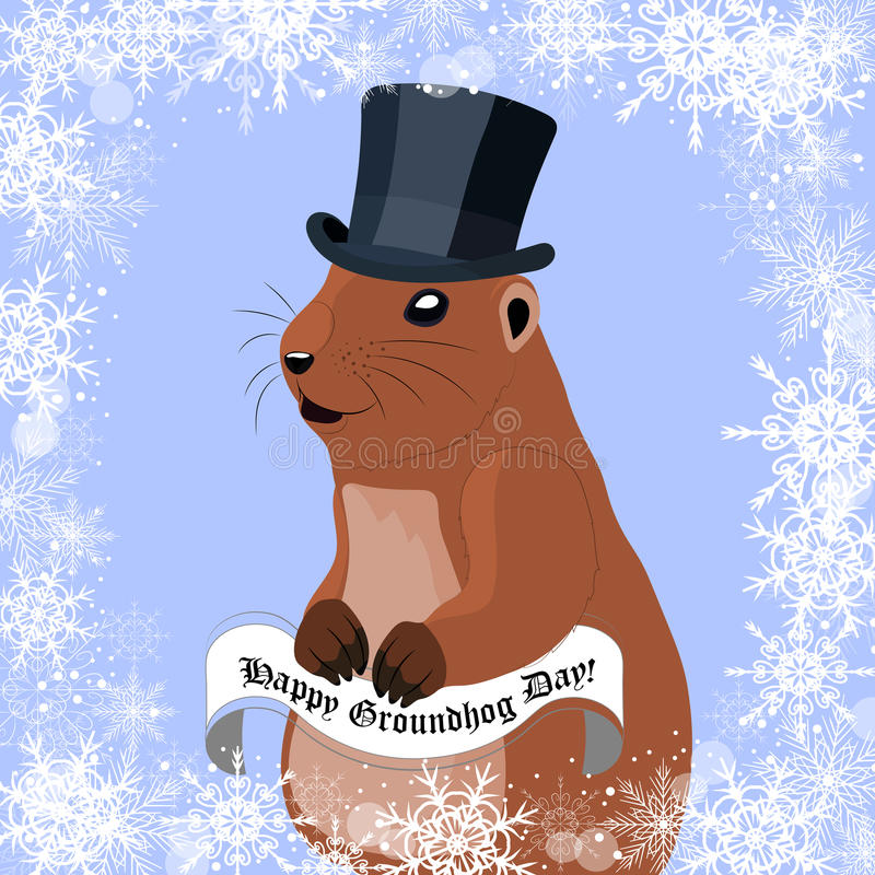 Carte de voeux de jour de Groundhog avec la marmotte mignonne dans le chapeau noir sur le fond d'hiver illustration stock