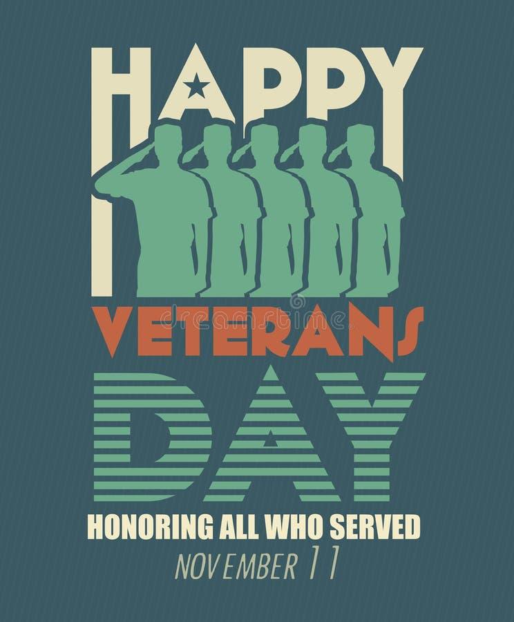 Carte de voeux de jour de vétérans Soldat de forces armées de militaires des USA dans la salutation de silhouette illustration de vecteur