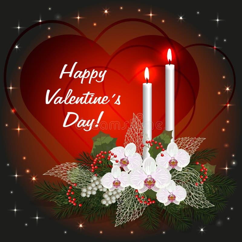 Carte de voeux de jour de valentines avec des coeurs d'amour, des décorations et des bougies brûlantes illustration de vecteur