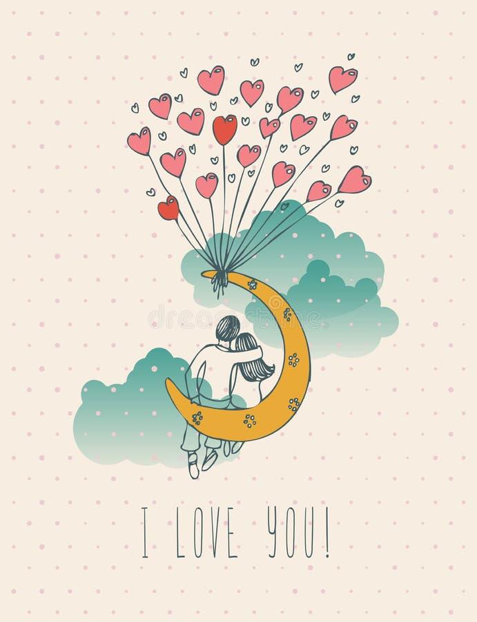 Carte de voeux de jour de valentines dans la conception de hippie de vintage avec des couples Je t'aime rétro note Style tiré par illustration stock