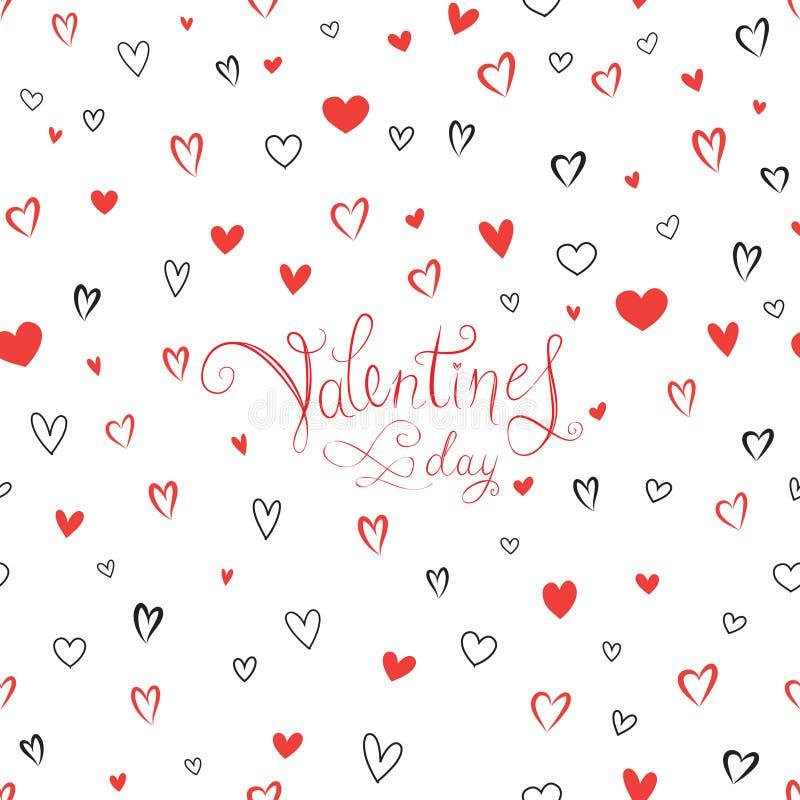 Carte de voeux de jour du ` s de Valentine avec le modèle de coeurs d'amour illustration de vecteur