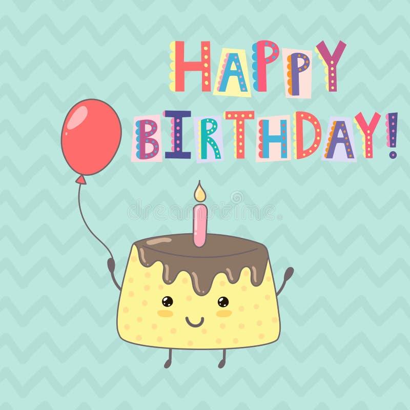 Carte de voeux de joyeux anniversaire avec un gâteau mignon illustration libre de droits
