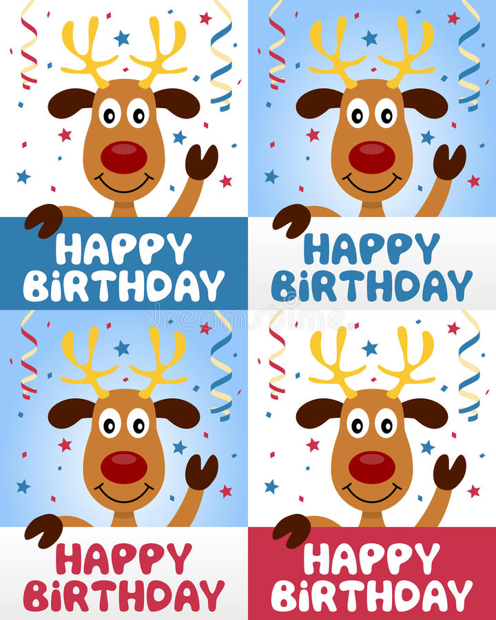 Renne mignon de joyeux anniversaire illustration stock