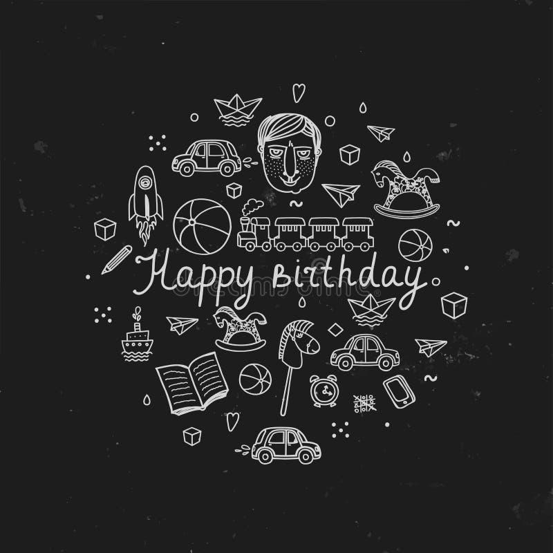 Carte de voeux de joyeux anniversaire - illustration de vecteur illustration stock