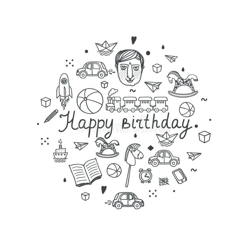 Carte de voeux de joyeux anniversaire - illustration de vecteur illustration libre de droits
