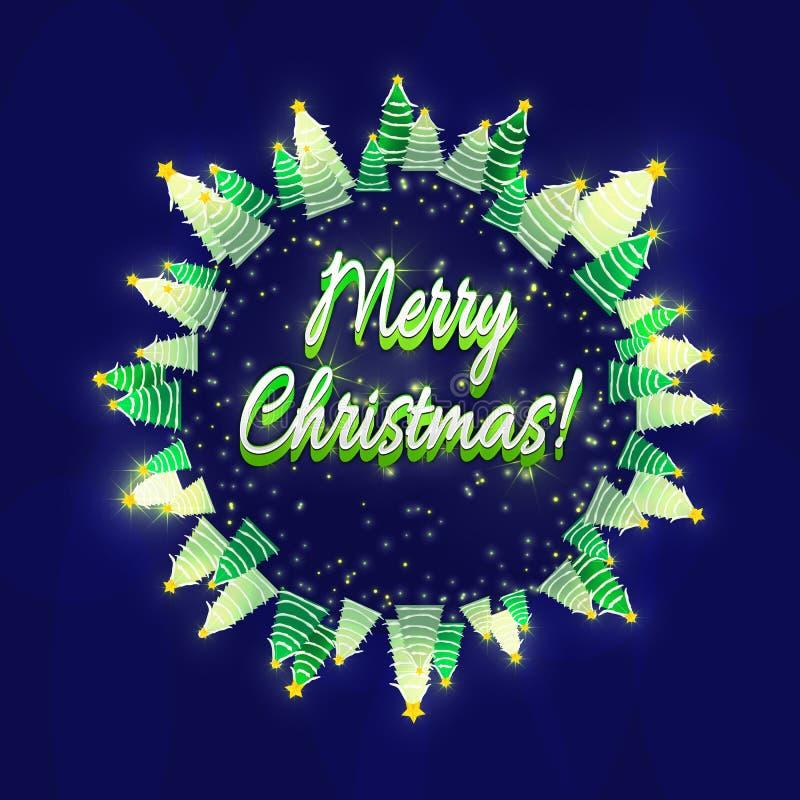 Carte de voeux de Joyeux Noël Arbres couverts de neige de Noël Fond bleu-foncé et briller, étoiles lumineuses illustration libre de droits