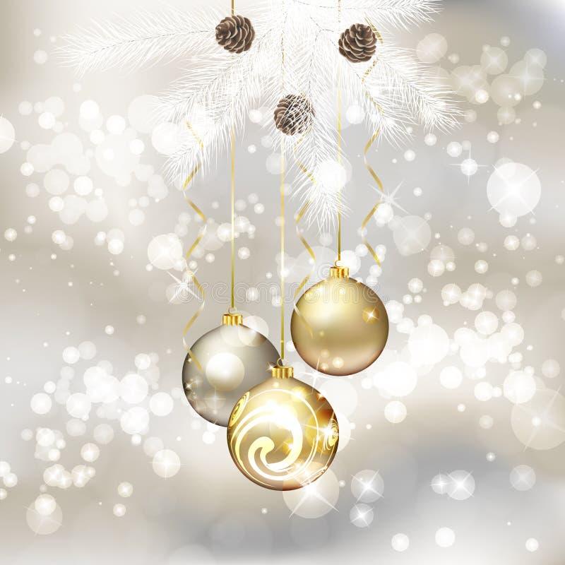 Carte de voeux de Joyeux Noël avec des billes de Noël illustration de vecteur
