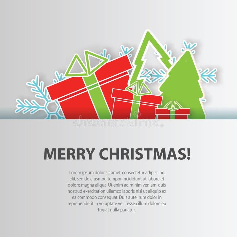 Carte de voeux de Joyeux Noël, calibre de conception de vecteur de fond illustration de vecteur