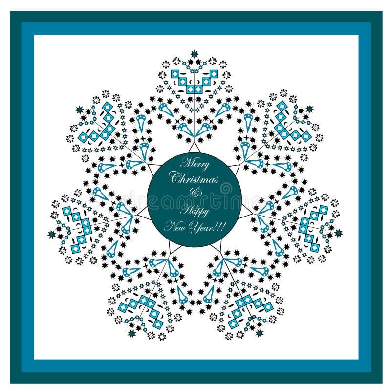 Carte de voeux de Joyeux Noël et de bonne année encadrée Concept de l'hiver Thème de célébration de Noël illustration stock