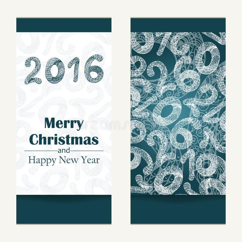 Carte de voeux de Joyeux Noël Fond 2016 abstrait de bonne année Inscription tirée par la main Illustration de vecteur illustration libre de droits
