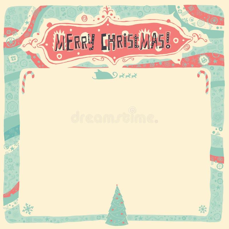 Carte de voeux de Joyeux Noël, invitation, affiche ou fond illustration stock