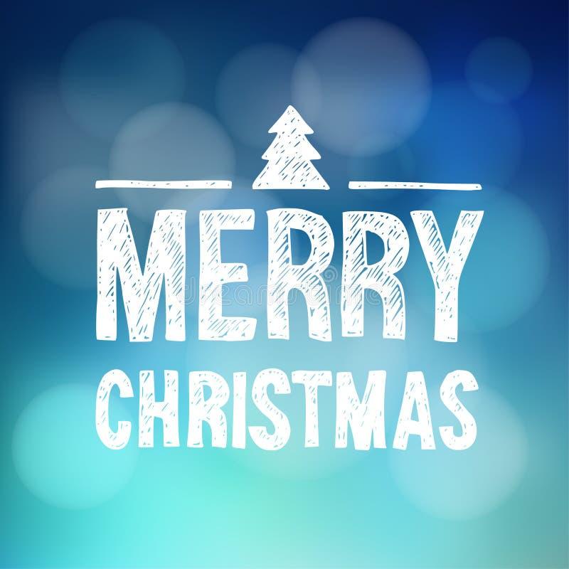 Carte de voeux de Joyeux Noël, invitation, texte tiré par la main, arbre de Noël illustration libre de droits
