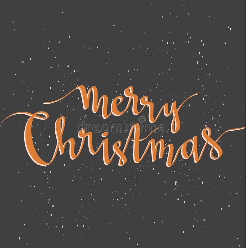 Carte de voeux de Joyeux Noël sur le fond foncé avec la neige Assaisonnez le calibre d'affiche de vacances de vecteur et le texte illustration de vecteur