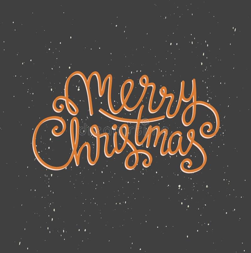 Carte de voeux de Joyeux Noël sur le fond foncé avec la neige Calibre d'affiche de vacances de vecteur de saison illustration de vecteur