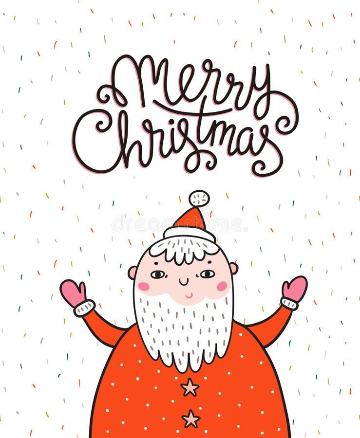 Carte de voeux de Joyeux Noël sur le fond foncé avec Santa Claus et le lettrage élégant - Joyeux Noël illustration stock