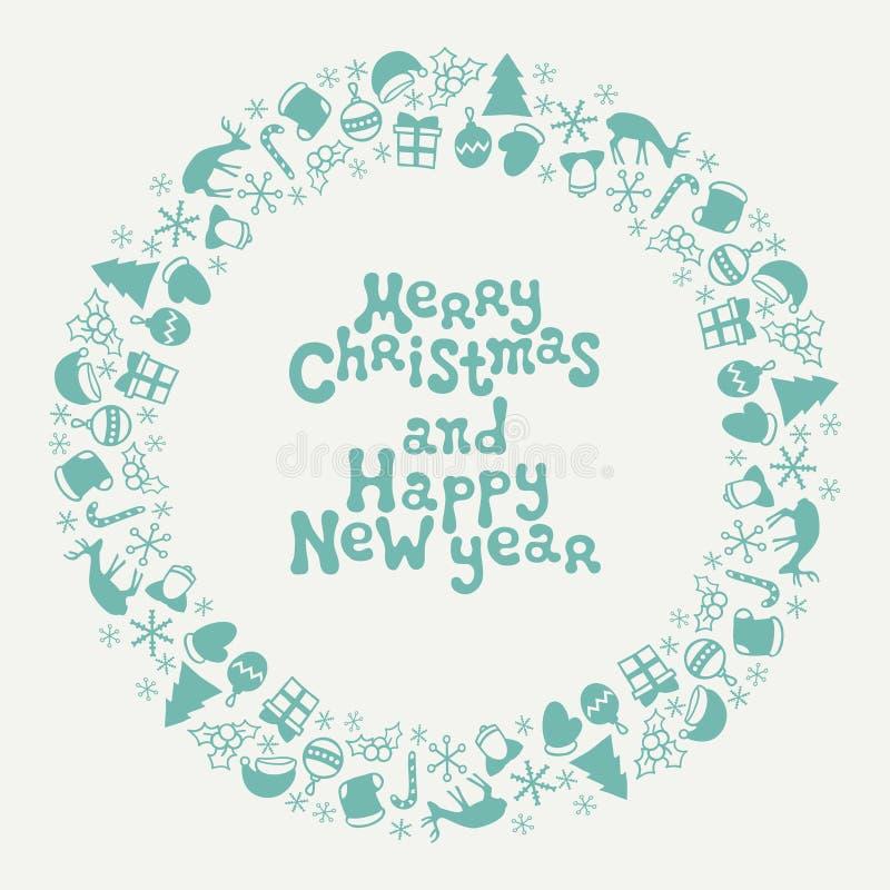 Carte de voeux de lettrage de Joyeux Noël et de bonne année 2017 Modèle tiré par la main de saison de Noël Vecteur illustration libre de droits