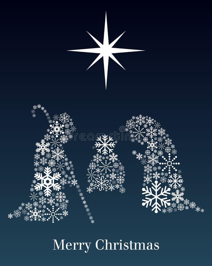 Carte de voeux de nativité de Noël illustration de vecteur