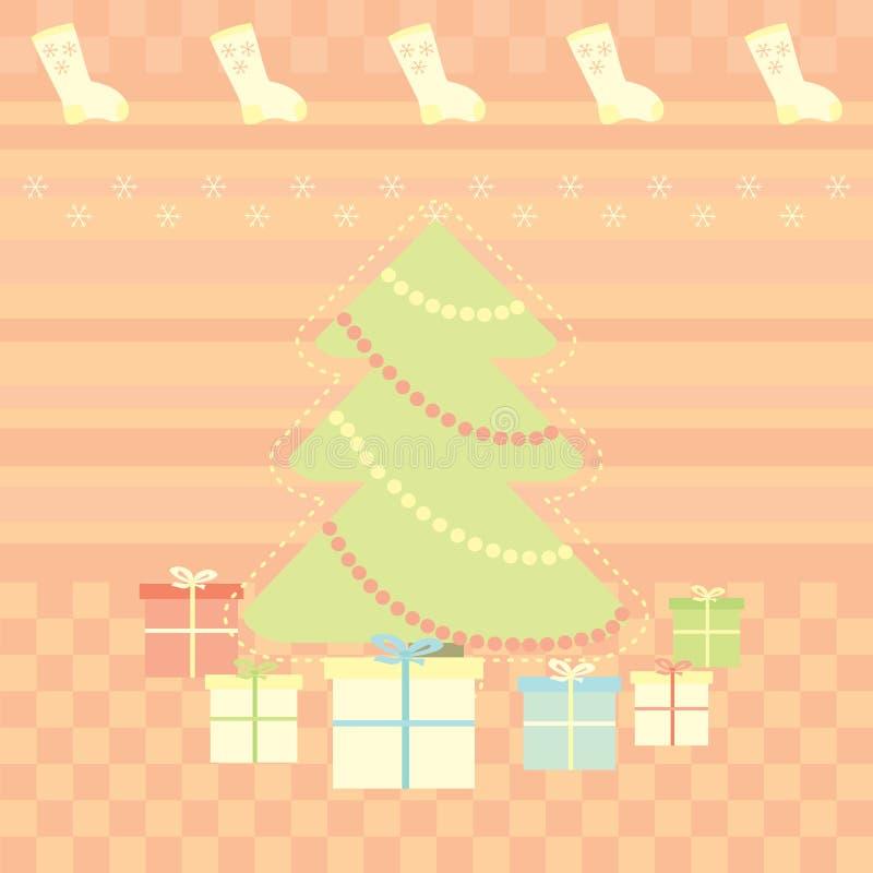 Carte de voeux de Noël avec des cadeaux illustration libre de droits