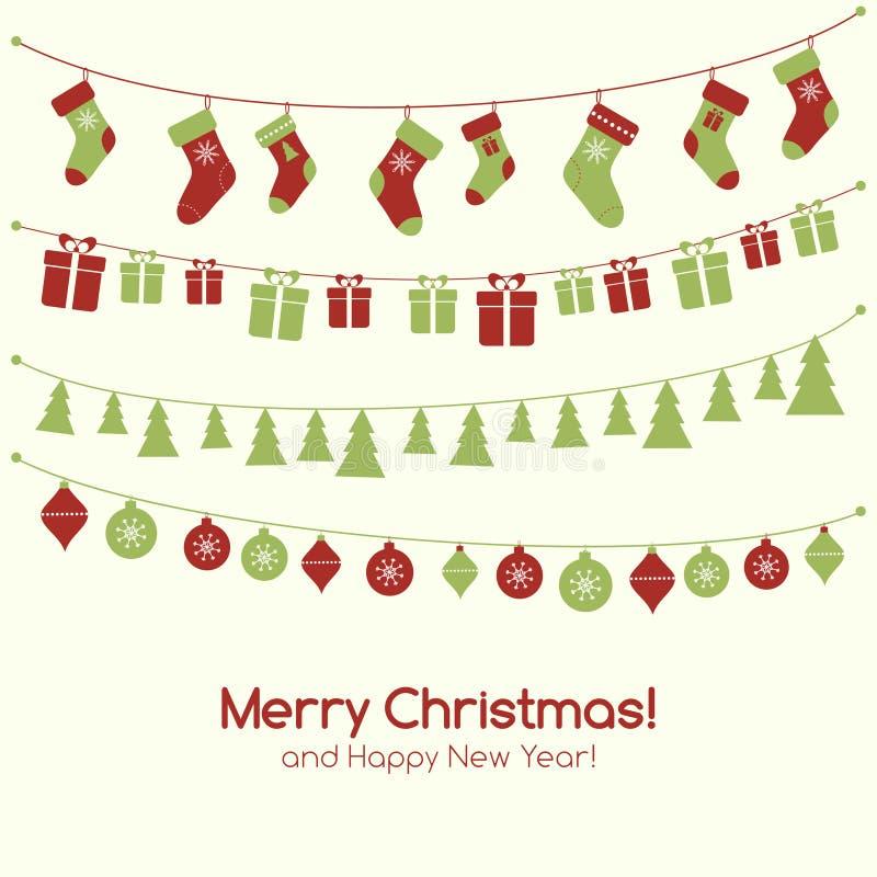 Carte de voeux de Noël avec des guirlandes illustration de vecteur