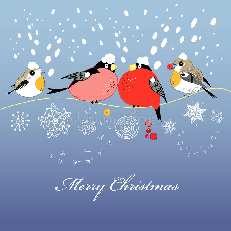 Carte de voeux de Noël avec des oiseaux illustration de vecteur