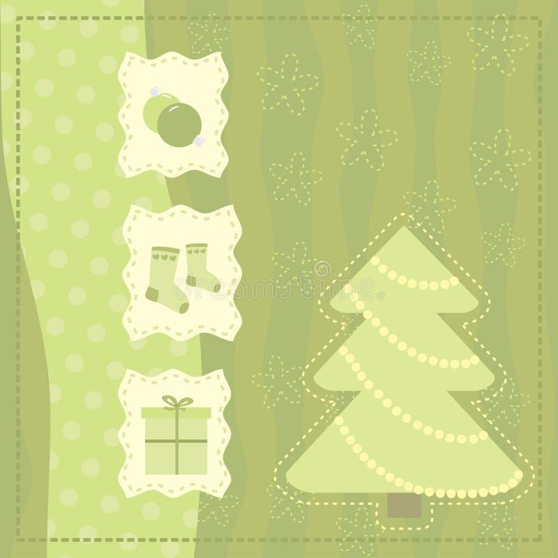 Carte de voeux de Noël avec des symboles de Noël illustration de vecteur
