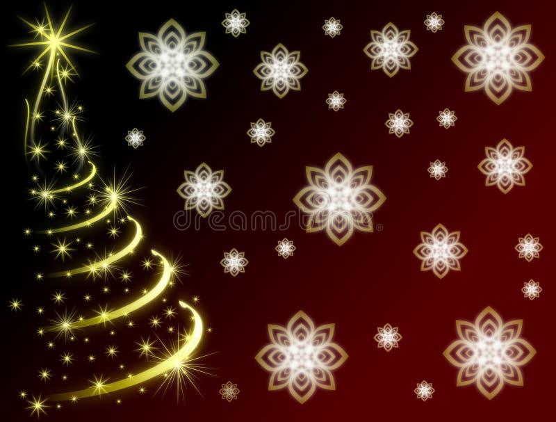 Carte de voeux de Noël avec l'arbre brillant en rouge illustration libre de droits