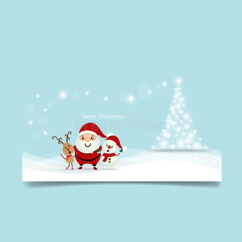 Carte de voeux de Noël avec l'arbre de Noël, Santa Claus, Snowma illustration de vecteur