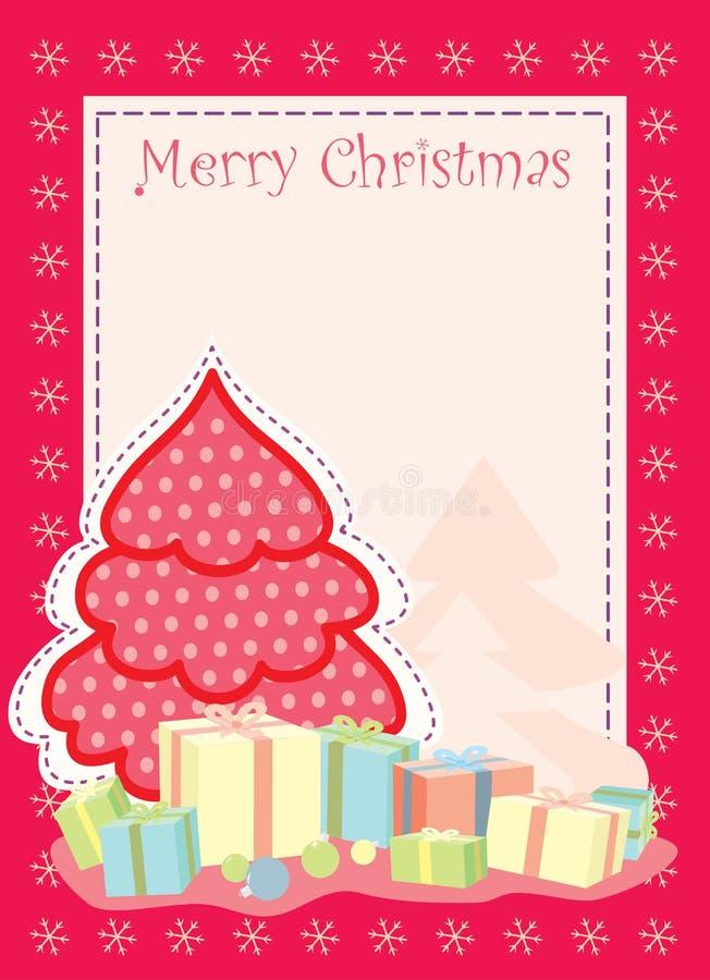 Carte de voeux de Noël avec l'arbre de Noël stylisé illustration stock