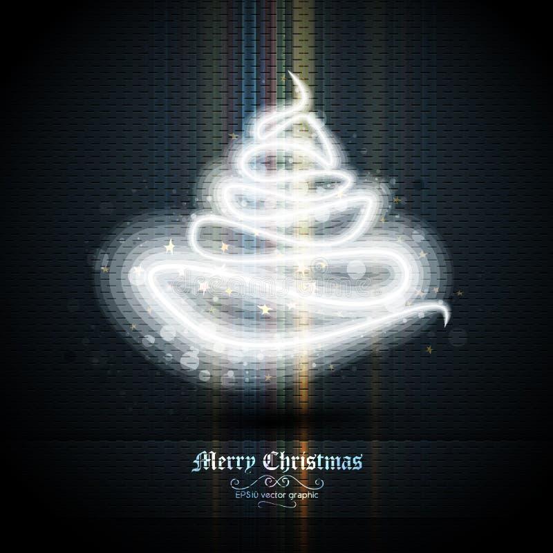 Carte de voeux de Noël avec l'arbre des lumières illustration libre de droits