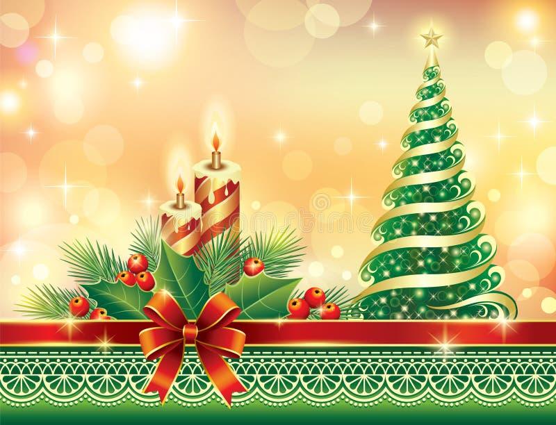 Carte de voeux de Noël avec l'arbre et la bougie de sapin illustration stock