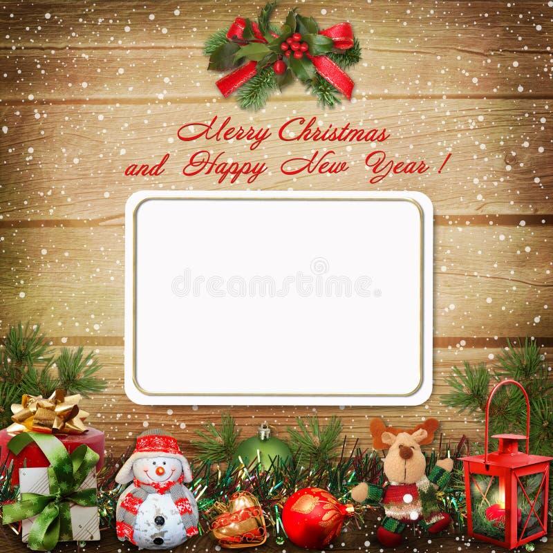 Carte de voeux de Noël avec l'espace pour la photo ou le texte images stock