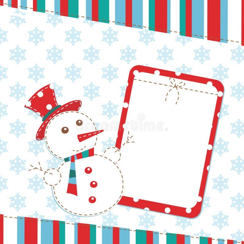 Carte de voeux de Noël avec le bonhomme de neige illustration de vecteur