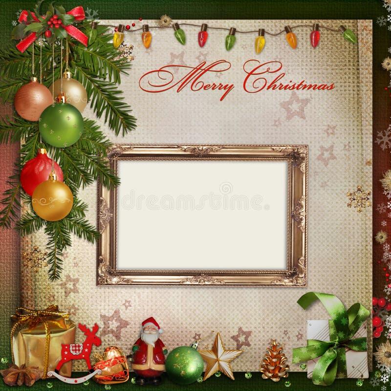 Carte de voeux de Noël avec le cadre pour une famille illustration libre de droits