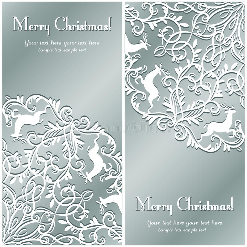 Carte de voeux de Noël avec le flocon de neige et les cerfs communs illustration de vecteur
