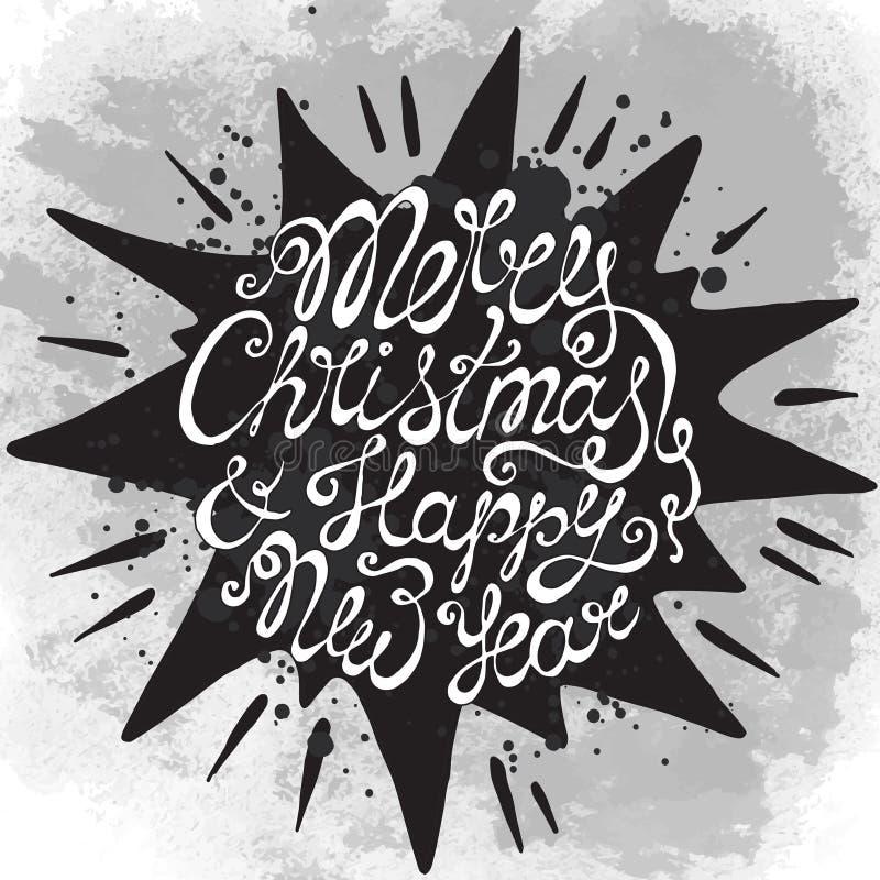 Carte de voeux de Noël avec le texte tiré par la main mignon sur l'étoile noire illustration libre de droits