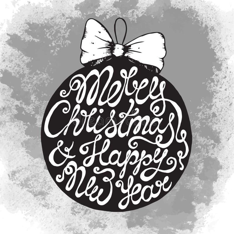 Carte de voeux de Noël avec le texte tiré par la main mignon sur la boule illustration libre de droits
