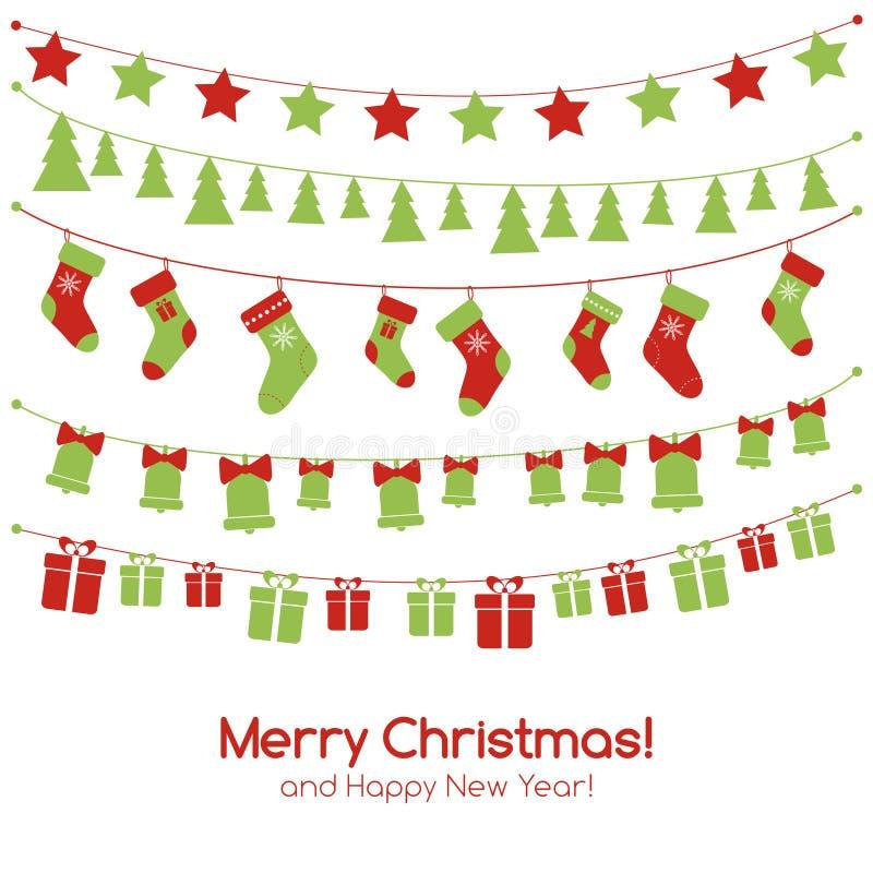 Carte de voeux de Noël avec les guirlandes de fête illustration de vecteur