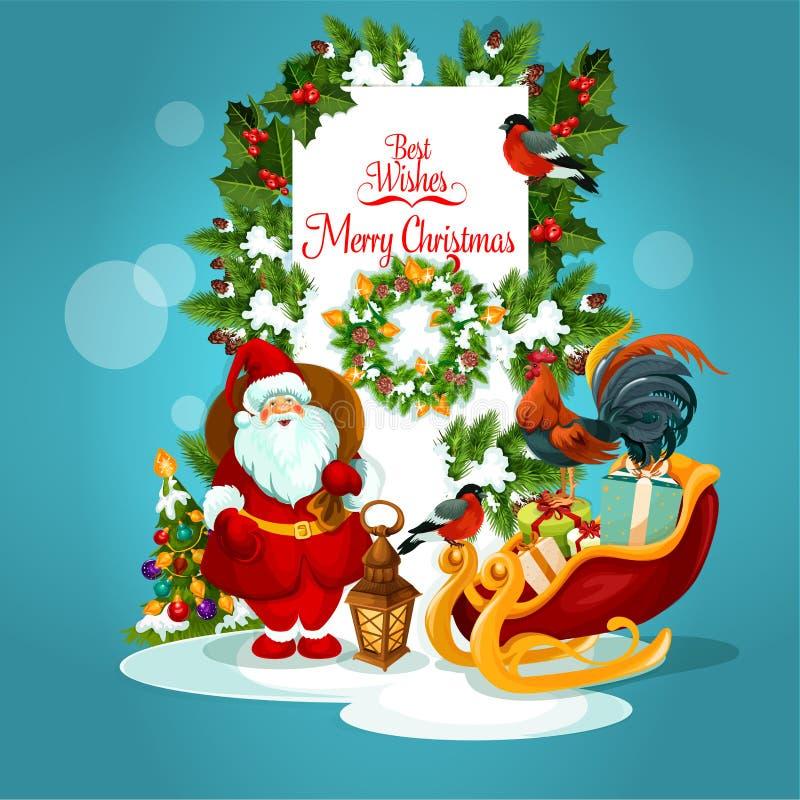 Carte de voeux de Noël avec Santa et arbre de Noël illustration de vecteur