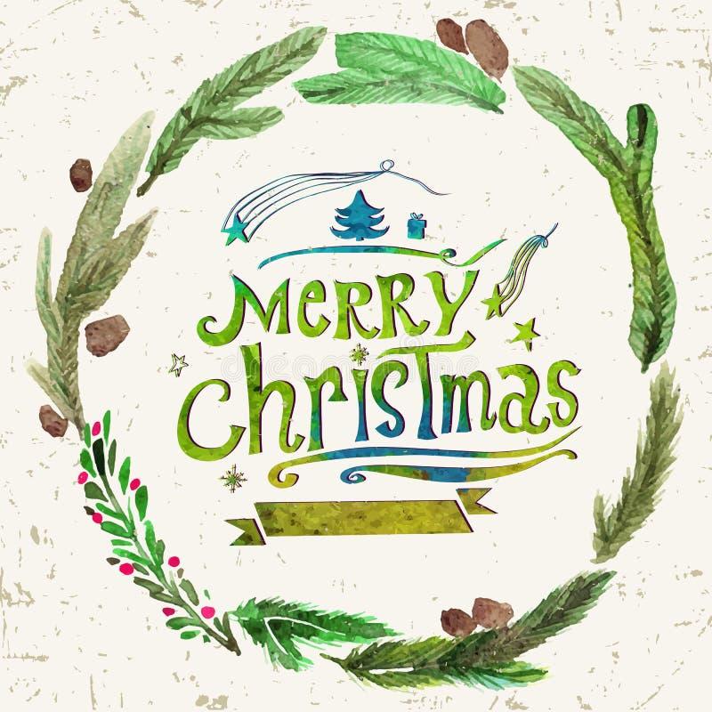 Carte de voeux de Noël d'aquarelle avec la guirlande des brindilles de houx et Noël des textes du Joyeux Art d'aquarelle Décor de illustration stock