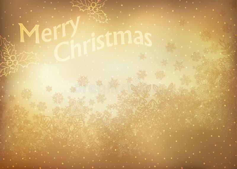 Carte de voeux de Noël d'or de cru illustration stock