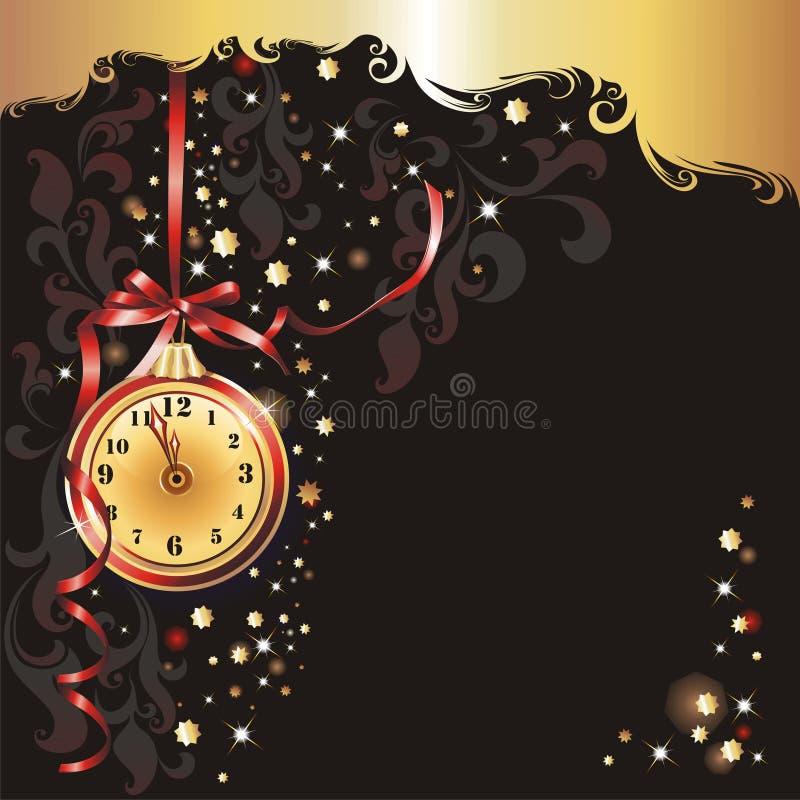 Carte de voeux de Noël et des Neuf-Ans. illustration stock