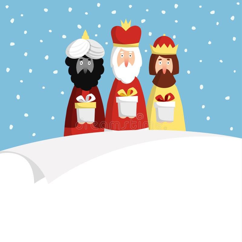 Carte de voeux de Noël, invitation avec trois mages illustration stock