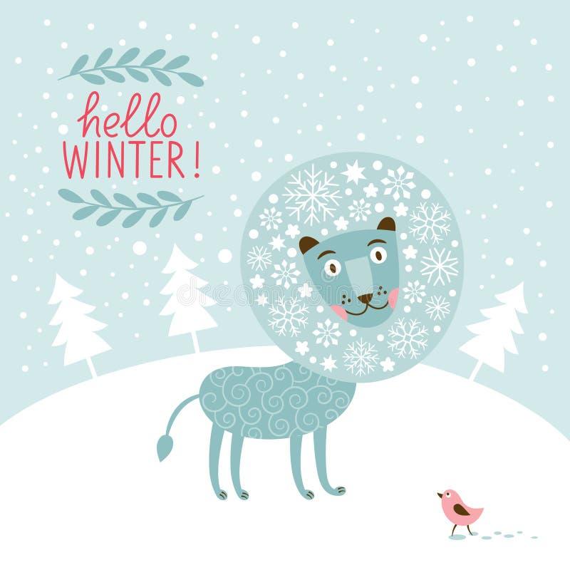 Carte de voeux de Noël, lion de fée de neige illustration de vecteur