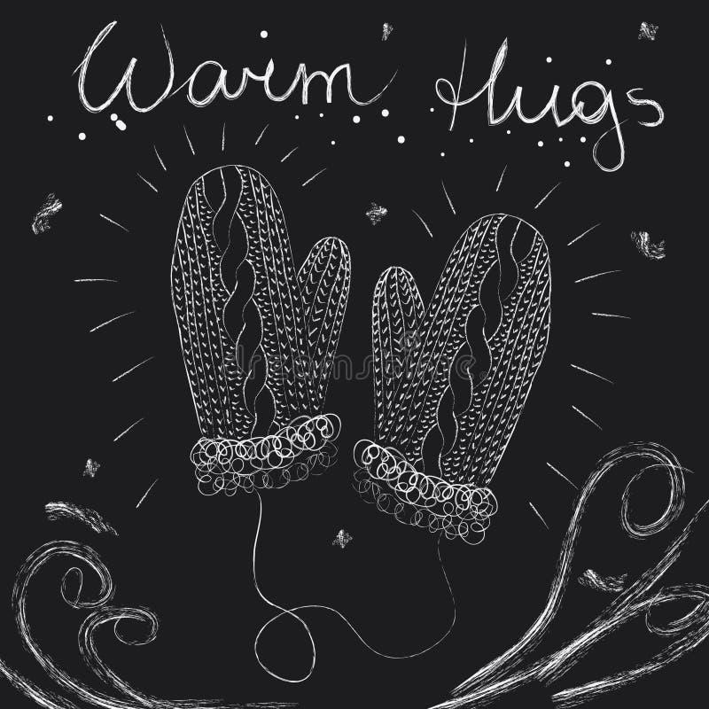 Carte de voeux de Noël, paires de mitaines tricotées et salutations sur le fond noir de tableau illustration stock
