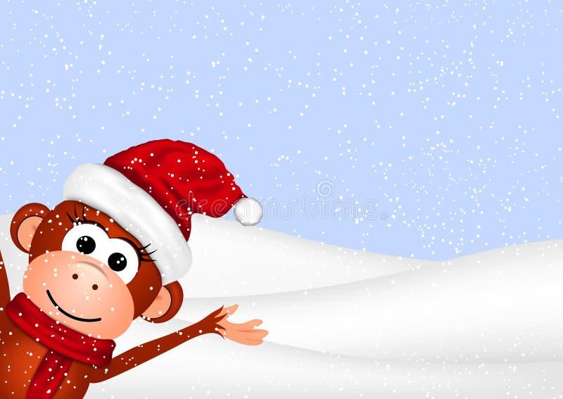 Carte de voeux de nouvelle année avec le singe gai dedans illustration de vecteur