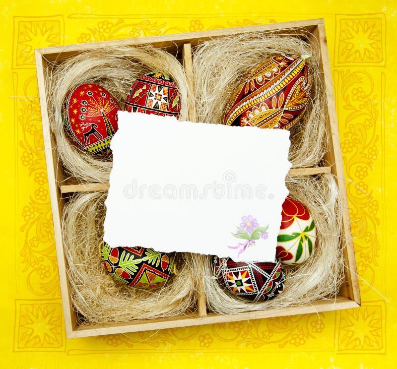 Carte de voeux de Pâques d'art avec Pâques traditionnelle d photos stock