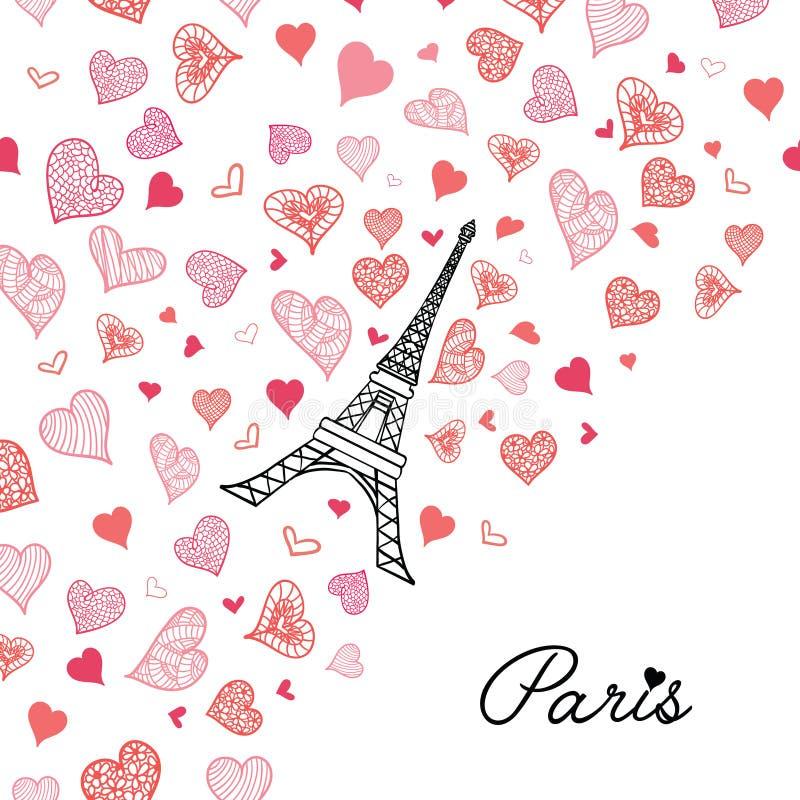 Carte de voeux de Paris de tour d'Eifel de vecteur éclatant avec les coeurs rouge-rose de jour de valentines de St de l'amour Per illustration libre de droits