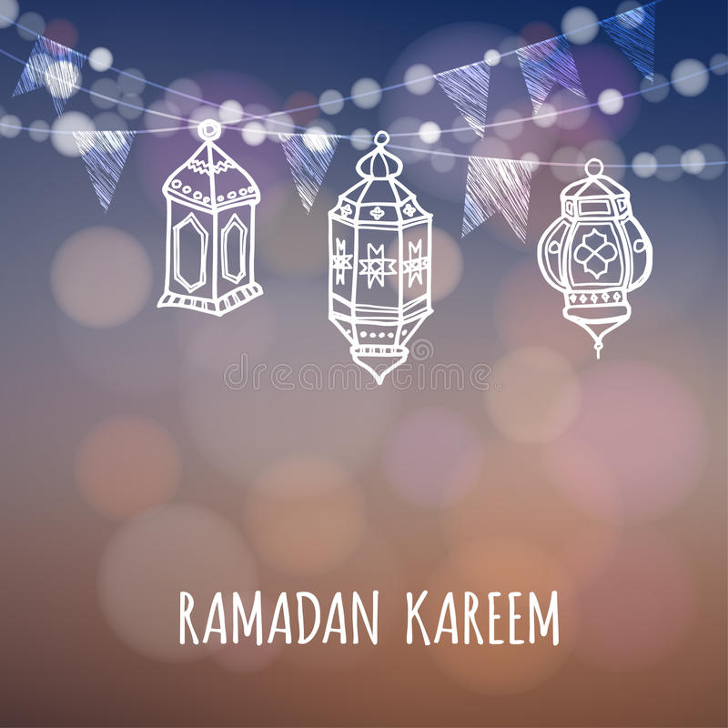 Carte de voeux de Ramadan Kareem Lanternes arabes lumineuses Décoration de Ramazan Illustration de vecteur illustration libre de droits